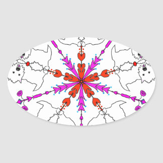 Westie kaleidoscope oval sticker