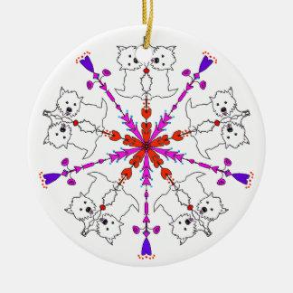 Westie kaleidoscope round ceramic ornament