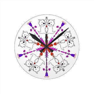 Westie kaleidoscope round clock