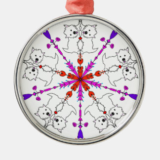 Westie kaleidoscope Silver-Colored round ornament