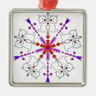 Westie kaleidoscope Silver-Colored square ornament