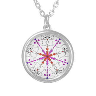 Westie kaleidoscope silver plated necklace