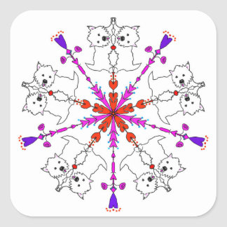 Westie kaleidoscope square sticker