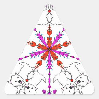 Westie kaleidoscope triangle sticker