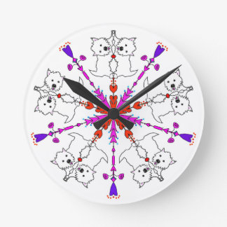Westie kaleidoscope wall clock