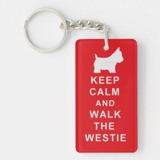 Westie Keep Calm Walk Birthday Christmas present Keychain