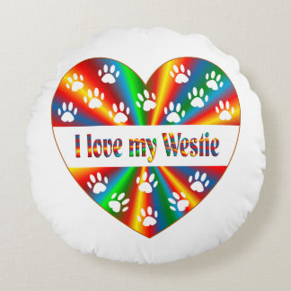 Westie Love Round Pillow