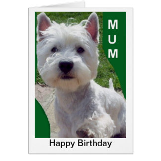 Westie Mum Birthday Card Westi Higland Terrier