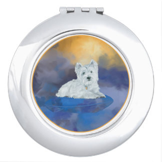 Westie on Cushion Travel Mirrors