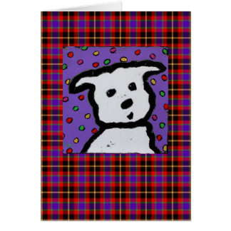 Westie on plaid card