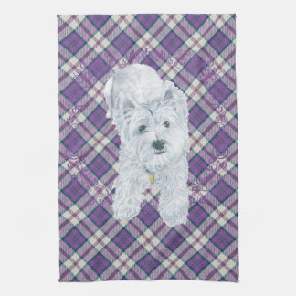 Westie on Tartan Kitchen Towel