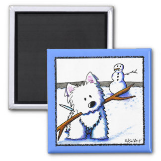 Westie One-Arm Bandit Square Magnet