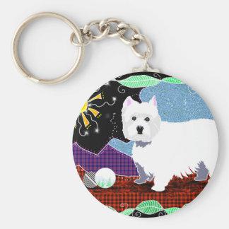 Westie Patchwork Basic Round Button Keychain