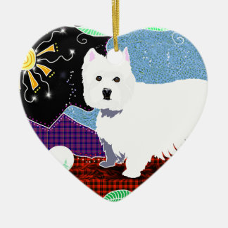 Westie Patchwork Ceramic Heart Ornament