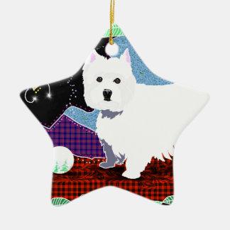 Westie Patchwork Ceramic Star Ornament