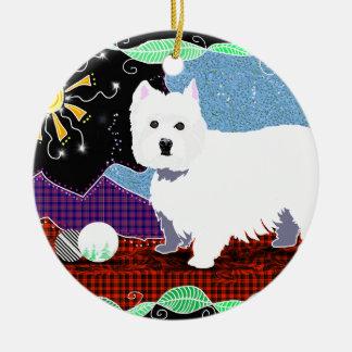 Westie Patchwork Round Ceramic Ornament