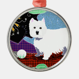 Westie Patchwork Silver-Colored Round Ornament