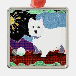 Westie Patchwork Silver-Colored Square Ornament