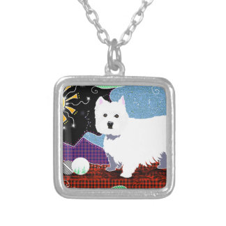 Westie Patchwork Silver Plated Necklace