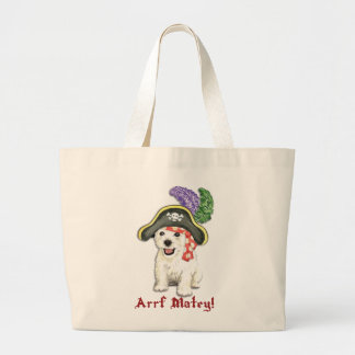 Westie Pirate Large Tote Bag