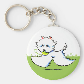 Westie Playtime Off-Leash Art™ Basic Round Button Keychain