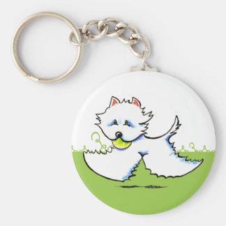 Westie Playtime Off-Leash Art™ Keychain