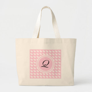 Westie Prints with Pink Background Monogram Large Tote Bag
