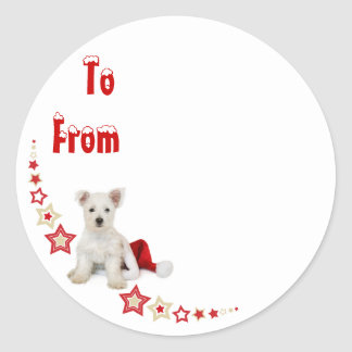 Westie Pup Christmas Sticky Label