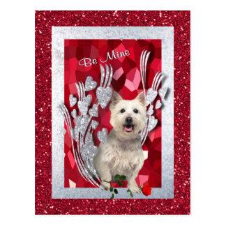 Westie Puppy Be Mine Valentine Version 3 Postcard