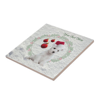 Westie Puppy Christmas Ceramic Tile Customize It!