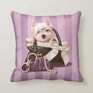 Westie puppy in Handbag Throw Pillow