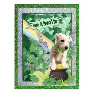 Westie Puppy Number Three Happy St Patricks Day Postcard