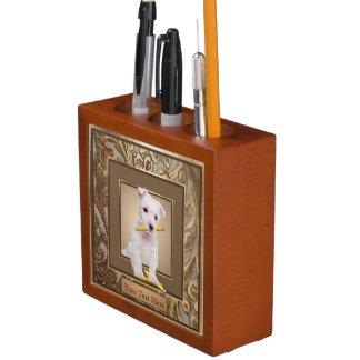 Westie Puppy Ornate Gold Filled Frame Design Desk Organizer