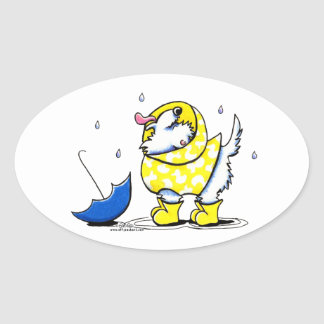 Westie Rainy Day Oval Sticker