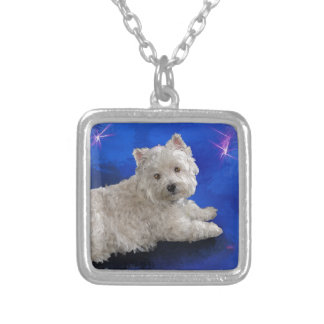 Westie Resting Silver Plated Necklace