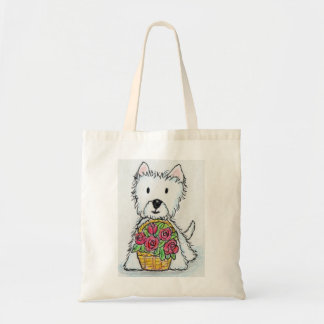 Westie roses Birthday Christmas friend wife etc. Tote Bag