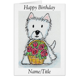 Westie roses Birthday greeting card personalise