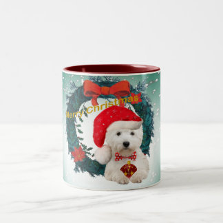 Westie Santa Christmas Cards Two-Tone Coffee Mug