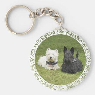 Westie & Scottie Green Grass Basic Round Button Keychain