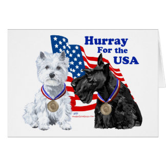 Westie & Scottie Hooray for USA Card