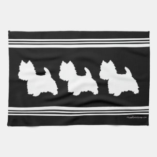 Westie Silhouette on Black Kitchen Towel