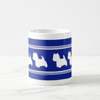Westie Silhouettes White on Blue Coffee Mug