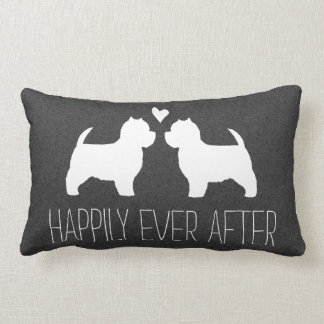 Westie Silhouettes with Heart and Text Lumbar Pillow