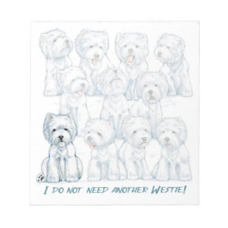 "Westie ""Sit Stay"" Note Pad by Borgo"
