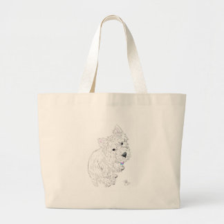 Westie siting at my feet large tote bag