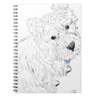 Westie siting at my feet notebooks