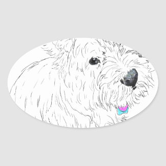 Westie siting at my feet oval sticker
