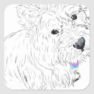 Westie siting at my feet square sticker