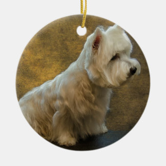 Westie sitting ceramic ornament