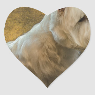 Westie sitting heart sticker